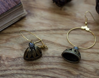 Golden Gypsy style bell-ring earrings with pendant bell