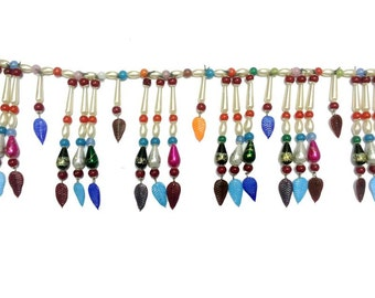 Handmade Bead Curtain MULTY Color Curtains With glass LEAVES Pendant For Home decoration