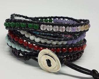Leather bracelet , semiprecious bracelet, energy bracelet , multistrand bracelet