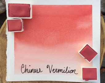 Chinese Vermilion. Half pan, full pan or bottle cap of handmade watercolor paint