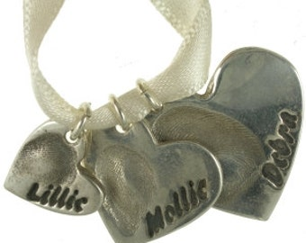 Set of 3 hearts fingerprint jewellery charm set