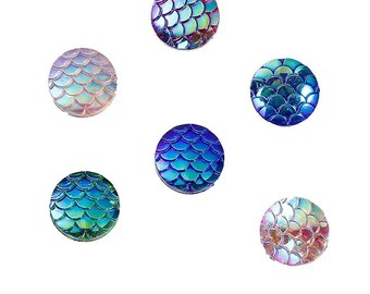 A set of 6 cabochons Fishscale Mermaid or dragon resins.