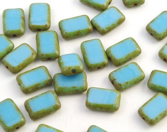 Blue Turquoise Picasso Rectangle Czech Glass Table Cut Beads 8x12mm - 12
