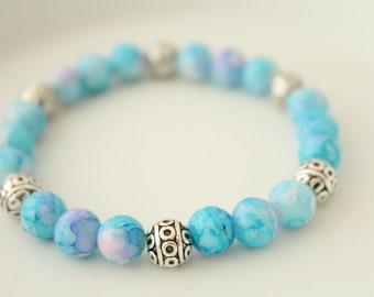 Boho Chic Jewelry - Gypsy Bracelet - Hippie Bracelet - Bohemian Bracelet - Blue Glass Bead Bracelet - Antique Bracelet - Stacking Bracelets