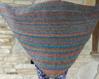Muted Heather Southwestern Colors  Super Soft Acrylic Triangle or Prayer Shawl with Shawl Stick