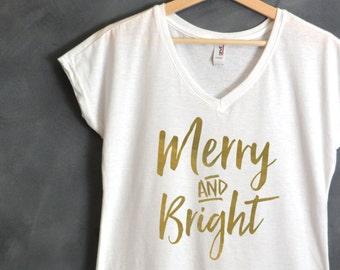 Merry And Bright Shirt, Christmas shirt, Christmas gift, Holiday T Shirt, Ugly Sweater, Christmas Shirts for Women, Christmas Sweater, Wifey