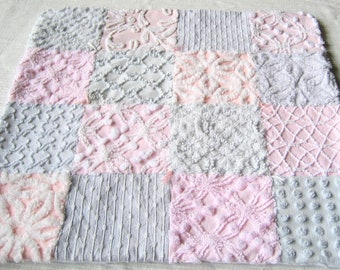 "Pink Gray and White Cotton Vintage Chenille Baby Accessory - ""Blankie""  for Baby or Dollies -  21"" x 21"""