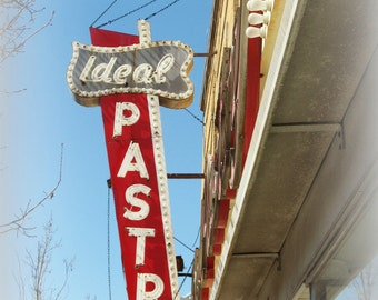 Chicago Photo, Jefferson Park, IDEAL PASTRY, vintage kitchen, photography, vintage neon sign, bakery, mid-century, red, white, gray, 50s