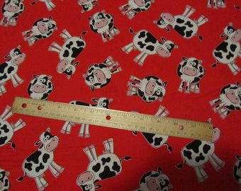 Red with Black and White Cows Toss Cotton Fabric by the Yard