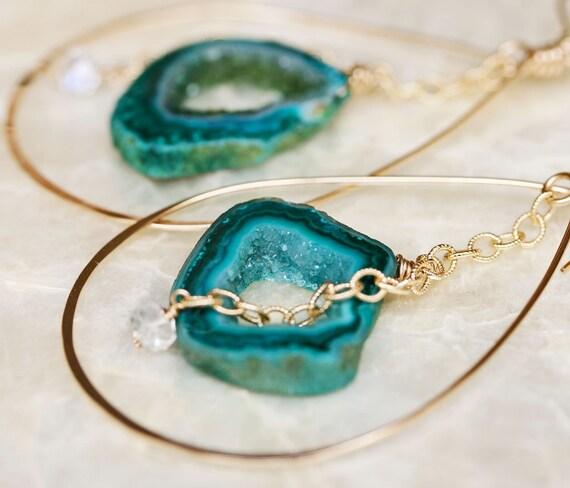 Druzy Earrings, Geode Earrings, Hoop Earrings, Moonstone Earrings, Raw Gemstone Jewelry, Raw Gedoe Jewelry, Green Geode, Dangle Earrings