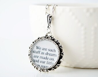 The Tempest – Shakespeare Quote Necklace – Shakespeare Jewelry – Literary Quote Necklace - Literature Necklace