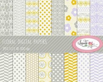50%OFF Digital paper, floral digital paper, lavender and yellow digital paper, floral scrapbook paper, floral patterns, P85