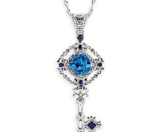 925 Silver Diamond Topaz Sapphire Key Pendant Chain