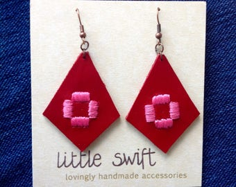 Embroidered Earrings - Geometric Leather Earrings - Red Earrings - Valentines Jewellery - Statement Earrings - Diamond Shape - OOAK Recycled