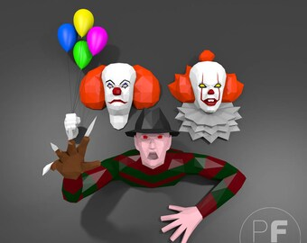 Heroes of horror films (Pennywise paper, Freddy Krueger origami, 3D It, Papercraft, Lowpoly, DIY template, PDF, 3D papercraft, Halloween)
