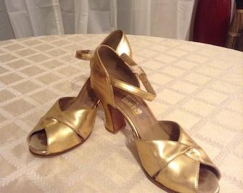 Capezio gold dance shoes