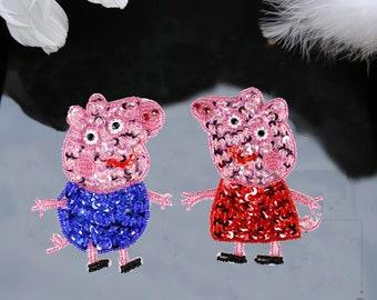 Carton Handmade Beading Peppa Pig Patch ,Carton Patch Embroidery