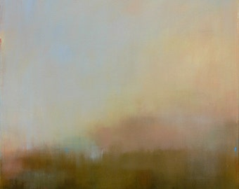 Large Abstract Landscape Painting Acrylic 36x36 painting on canvas  - West Elm artist, ethereal painting, brown, vineyard, mist, fog, haze