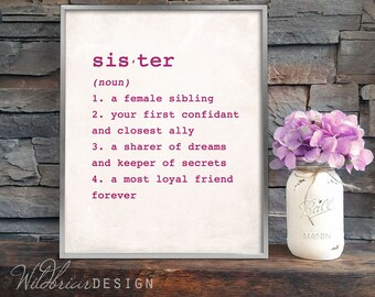 Printable Wall Art, Sister dictionary definition, girls room big little sister gift new baby, rustic canvas; INSTANT DOWNLOAD