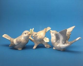 Otagiri Bird Figurines, Vintage Bird Figurines, Porcelain Bird Figurines, Otagiri Japan, Set of Three