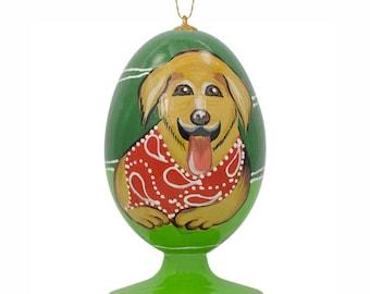 """3.5"""" Golden Retriever Dog in Bandana Wooden Easter Egg Christmas Ornament"""