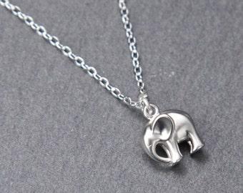 Elephant Necklace, Silver. Tiny elephant necklace. Animal necklace. Silver Elephant Necklace.