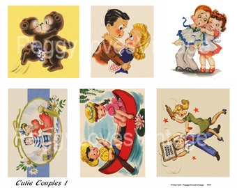 Cutie Couples 1 Digital Collage from Vintage Greeting Cards - Instant Downloads - Cut Outs