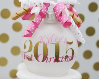 Baby's First Christmas, First Christmas Ornament, Christmas 2017, Baby Shower Gift, Baby Girl Ornament, Pink and Gold Christmas Ornament,