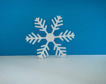 White snowflakes cut foam for creation for Christmas, 7.1 cm diameter