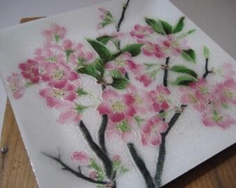 Vintage Enamel Cloisonne Pink Flowers Dish Tutanka Japan