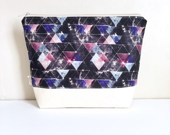 Modern project bag knitting bag Large Geo project bag Triangle print crochet project bag
