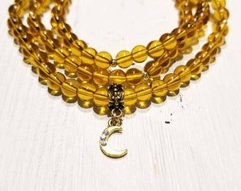 Citrine 108 Bead Wrist Mala - Wrap Bracelet