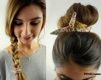 Bun Wire Wraps CHOOSE Any Two - Wired Flex Headband PonyTail Braid Ins for Hair Headband Wrap Pinup Hair UpDo Bun Wraps 25 COLOR CHOICES