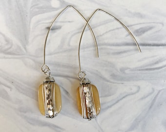 Wire-wrapped stone ear wires