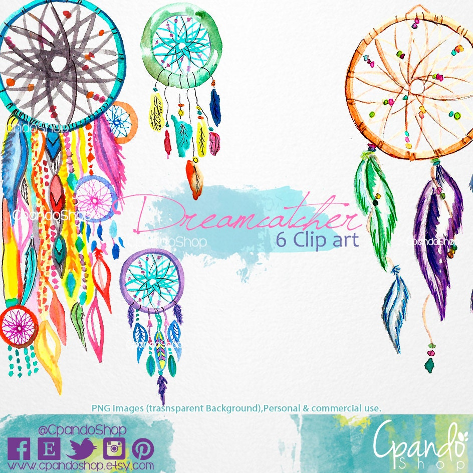 Dreamcatcher hand painted watercolor clip art (6Png images with ...