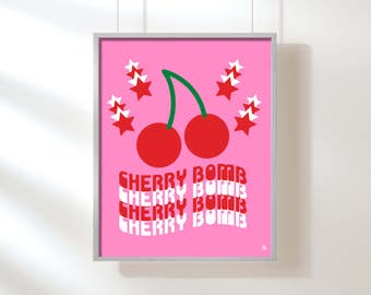 Cherry Bomb Giclee Print, Pop Art, Fruit Art, Cherry Print, Pink and Red