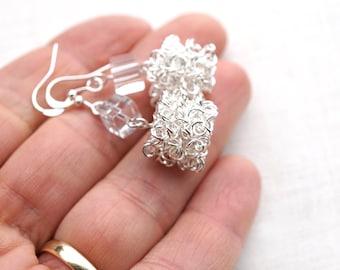 Statement Jewelry Sculptural Sterling silver wire cube earrings Cool Ice Cube Earrings Modern Minimalist Jewelry Edgy Glass Dangle Earrings