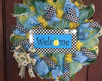 Spring/Summer Welcome Wreath Blue Yellow