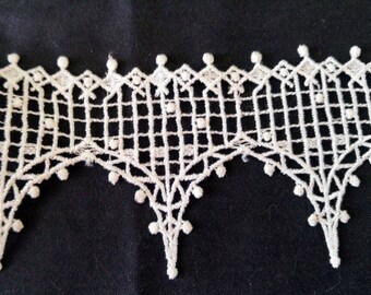 2 Yds•3 Inch Wide White Trellis Design Venise Lace Trim• Wedding•Bridal•Scrapbooking•Jewelry•DIY•Quilting•Costume•Cosplay•Shabby Chic•Craft