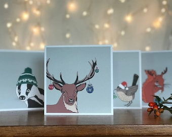 Festive Woodland Animal Christmas Cards and Envelopes (Pack of 4)