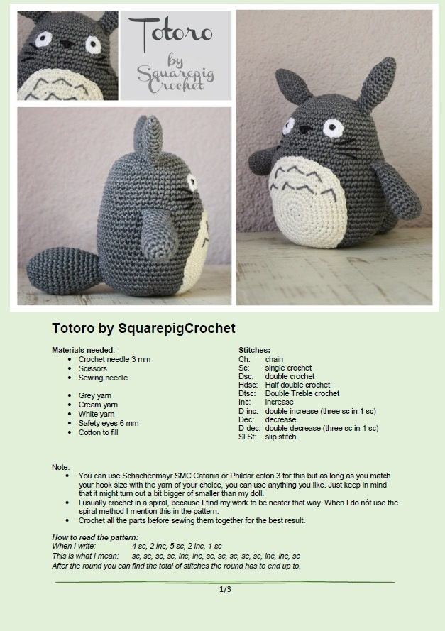 Totoro crochet pattern 6 inch high amigurumi from squarepigcrochet this is a digital file dt1010fo