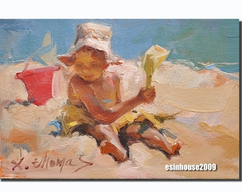 Original oil painting Beach girl 12 x18cm by X.thmoas