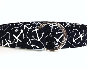 Navy and White Nautical Print Fabric Belt