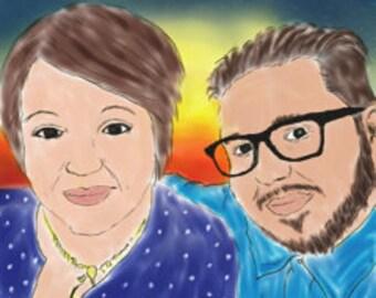 Digital hand drawn portrait, couples, wedding, birthday, anniversary