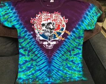 Adult Grateful Dead Handmade Batik Tie-Dye Collaboration Skull and Roses; Bertha; Annie image Collaboration T-shirt