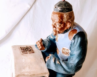 Splendid Chinese 19th C. Ceramic Sculpture of a Wise Fortune Teller w/ Double Happiness Symbols
