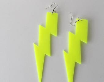 Neon Yellow Lightning Earrings/ Oversize Statement lightning Bolt Earrings/ Rave/ Festival Jewellery/ Huge Earrings