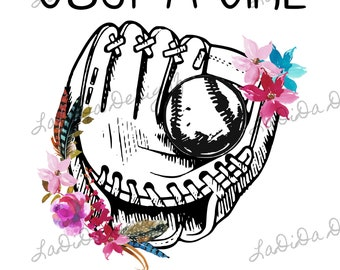 Just A Girl Who Loves Softball Boho Sublimation Transfer Feathers Floral Glove Ball