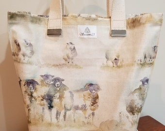Adorable Sheep Tote Purse in a Quality Cotton PVC Fabric - Perfect for Every Day or Farmers Market and Grocery Shopping