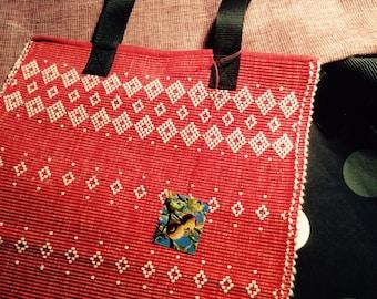 Red Bag, Upcycled Bag, Scandinavian Textiles, Shopper Bag, Cotton Bag, Nordic Design, Woman Accessories, Handmade, Unique